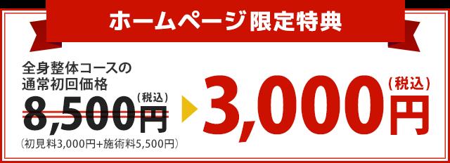 全身整体コースの通常初回価格の通常初回価格8,500円が3,000円に!
