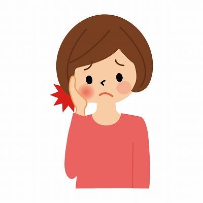 顎関節症の女性イラスト