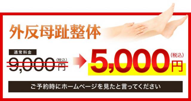 外反母趾通常価格9000円→5000円